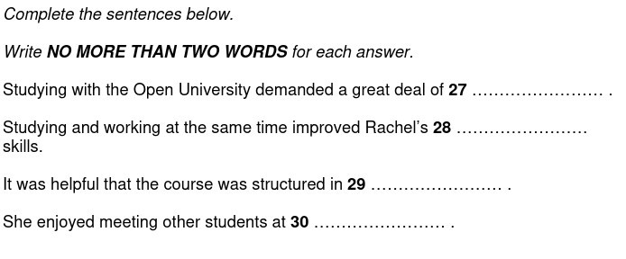An example of a sentence completion question.
